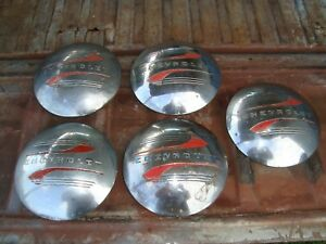 Vintage 1941 1946 Chevy Chevrolet Truck Dog Dish Hubcap Set Of Five