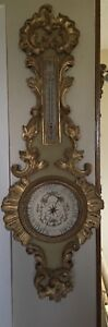 French Antique Carved Gold And Beige Painted Wood Barometer