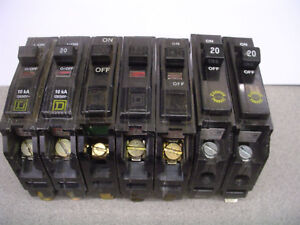 7 Used Square D 20 Amp Circuit Breaker Qo Series Qo120 Single Pole Free Us S h