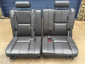2007 2014 Tahoe Yukon Escalade Suburban Third Row Seat Black Ebony Leather07 14