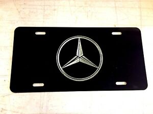 Mercedes Benz Logo Car Tag Diamond Etched On Black Aluminum License Plate