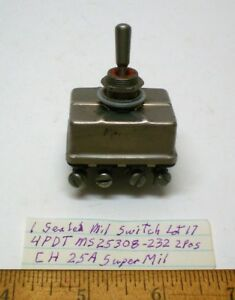 New Militarytoggle Switch Sealed 4pdt Cutlerh Ms25308 232 25 Amp Cont Lot 17 Usa