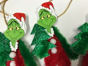 Chenille Christmas Ornaments Vintage Grinch Feather Tree Ornaments Tags