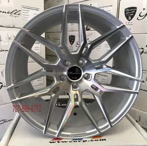 20 Staggered Giovanna Bogota Silver Machine Concave Wheels Rims Fits Mustang Gt