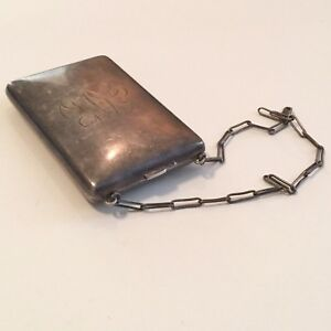 Signed Antique Sterling Silver Coin Purse Mirrored Ladies Compact Vesta Case