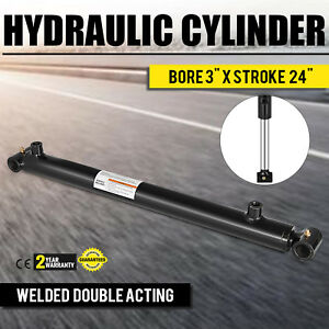 Hydraulic Cylinder 3 Bore 24 Stroke Double Acting 3000psi Garden Suitable