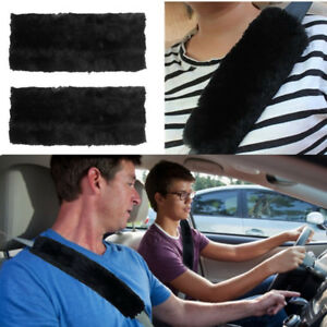 2pcs Comfortable Faux Sheepskin Car Auto Seat Belt Shoulder Pads Cover Cushions