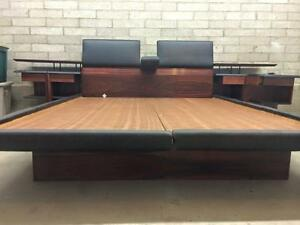 Danish Modern Brazilian Rosewood Queen Bed With Nightstands