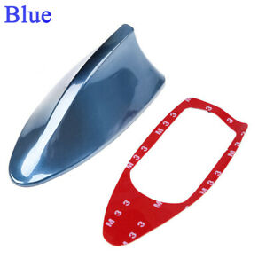 Blue Car Shark Fin Antenna Decor Roof Aerial With Radio Signal Fm Am Universal