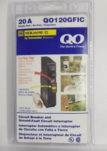 Square D Qo120gfic Single Pole 20 Amp Breaker Ground Fault Circuit Interrupter