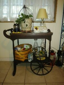 Vintage Mobile Wooden Tea Cart With Removable Glass Serving Tray