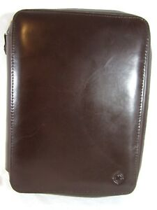 Franklin Covey Brown Leather Day Planner Organizer Zippered 7 Ring Binder