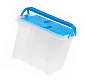 Iris Letter Size Portable Wing Lid File Box With Handles 4 Pack Blue