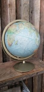 Vintage Replogle Land And Sea World Globe 12 Inches Diameter Rare Dual Axis
