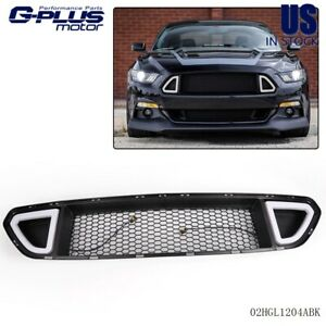 Front Upper Grill Mesh Grille W Drl Led Light For 2015 2016 2017 Ford Mustang