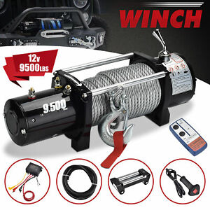 9500lbs 12v Electric Recovery Winch Truck Suv Wireless Remote Control