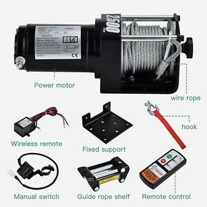 2500lbs 12v 24v Electric Recovery Winch Truck Suv Wireless Remote Control