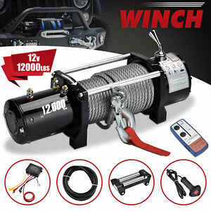 12000lbs 12v 24v Electric Recovery Winch Truck Suv Wireless Remote Control