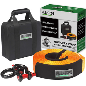 Off Road Recovery Strap Kit Heavy Duty 20 Feet Towing Rope 2 D Ring Shackles