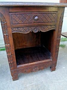 1800s French Carved Side Table Night Stand Book Shelf