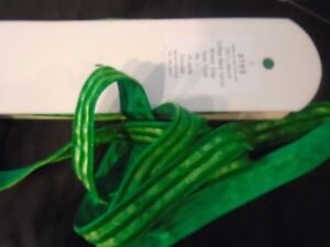 Vintage Swiss Rayon Velvet Embossed Stripe Green Ribbon 9 Yds X 1 Orig Bolt