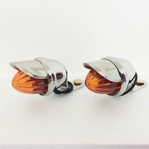 Hot Rod Motorcycle Amber Turn Lights With Shroud 1 Pr