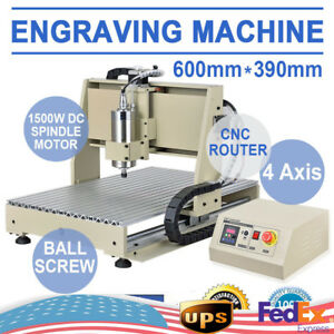 1500w 4 Axis Cnc Router 6040 Engraver Engraving Milling Machine Metal Drilling
