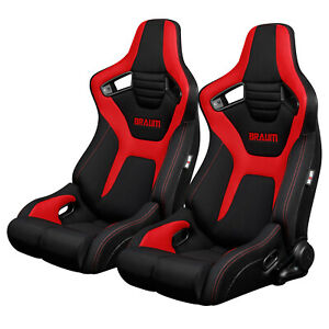 Braum Black Red Cloth Elite r Racing Seats W Red Stitches Brr1r bfrd pair