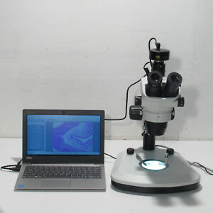 Olympus Sz61 Stereo Microscope W Pc 3 2 Mp Camera Dual Led Light Stand