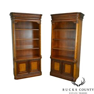 Cherry Burl Wood Pair Of Bookcases Display Cabinets