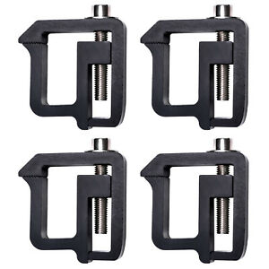 Set Of 4 Aluminum Truck Cap Topper Camper Shell Mounting Clamps Black