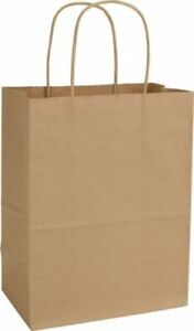 250 5 x3 5 x8 Brown Kraft Paper Bags Handles Business Grocery Shopping Recycled