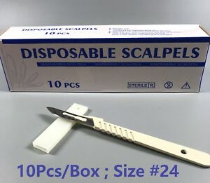 10box 100pcs Dental Medical Scalpels Disposable Sterile Surgical Blade 24 handle
