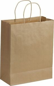 250 10 x5 x13 Brown Kraft Paper Bags Handles Business Grocery Shopping Party