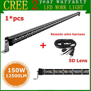 40inch 150w Single Row Cree Slim Led Light Bar Offroad Lamp Jeep remote Wires 5d