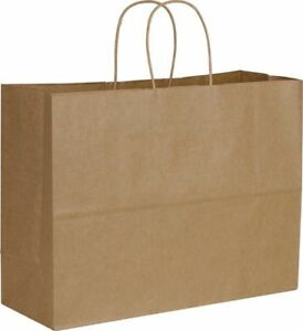 250 16 x6 x12 5 Brown Kraft Paper Bags Handles Take Out Grocery Shopping Party