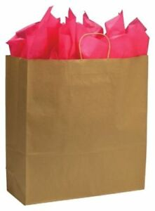 200 18 x7 x19 Brown Kraft Paper Bags Handles Take Out Grocery Shopping Party