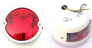 Pair Vintage Tractor Rear Tail Stop Lamp Light With Licence Plate Window 12v