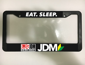 Eat Sleep Jdm Wakaba Japanese Japan Drift Tuner Black License Plate Frame New