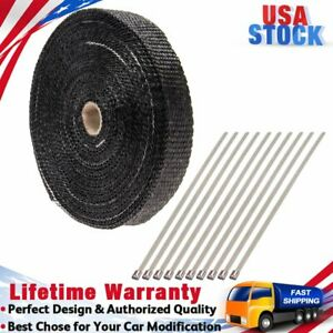 Titanium Exhaust Header Heat Wrap 1 X 50 Roll With 10 Pcs Stainless Ties Kit