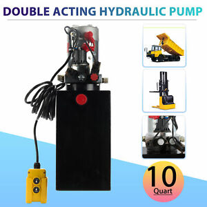 12 Volt Double Acting Hydraulic Pump For Dump Trailer 10 Quart Metal Reservoir