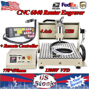 4 Axis Usb 6040 Cnc Router Engraver Engraving Machine 1 5kw Wood Pvc 3d Pcb Part