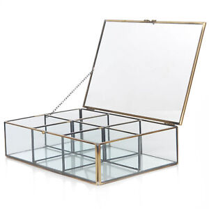 Clear Glass Brass Metal Frame 6 Compartment Jewelry Box Counter Top Display