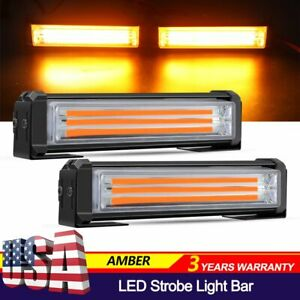 2 X Amber Cob Led Emergency Hazard Warning Flash Strobe Beacon Light Bar 40w Set