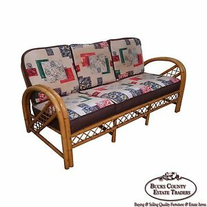 Vintage Rattan Bow Arm Sofa By Imperial Reed