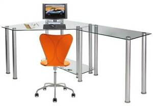Corner Computer Desk With Glass Top Work Center Arm id 8837