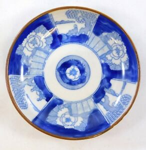Antique Brown Dressed Rim Chinese Export Small Porcelain Dish Blue White Design