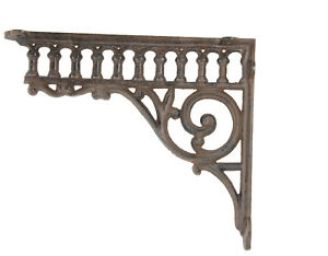 Set 4 Rustic Brown Cast Iron Metal Vintage Look Shelf Brackets Corbels