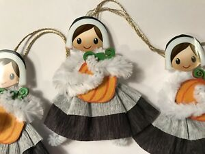 Chenille Thanksgiving Ornaments Vintage Pilgrim Feather Tree Ornaments Tags