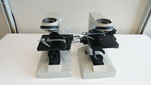 N12 Lot Of 2 Nikon Alphaphot Microscope Base With Stage
